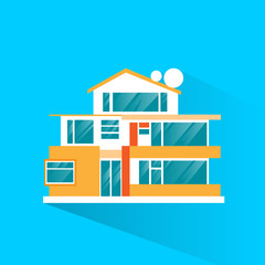 big modern villa house icon flat design vector