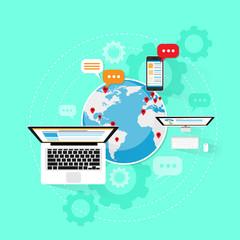 Computer device internet network connection laptop cloud
