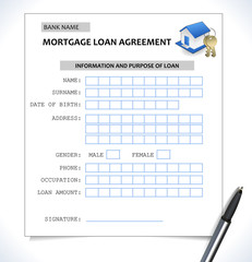 mortgage paper form ,loan application with home icon