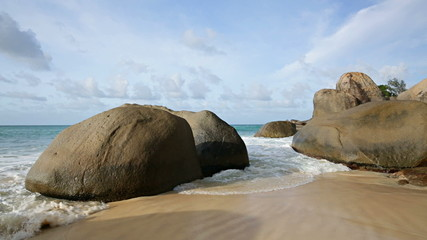 Waves And Boulders in Mahe, Seychelles