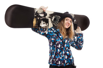 beautiful woman with a snowboard isolated