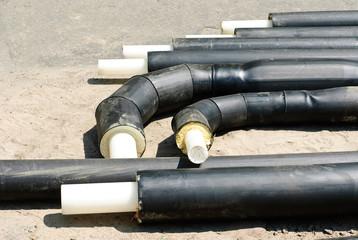Plastic heating pipes before installation