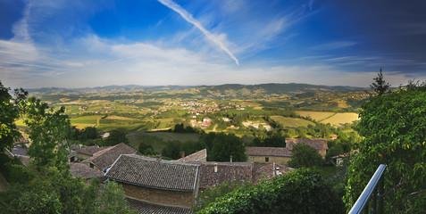 Panorama of the Beaujolais, Rhone, France
