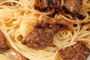 Liver and spagetti  -fine food background