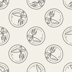 dishware doodle seamless pattern background
