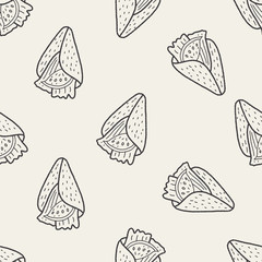 burrito doodle seamless pattern background