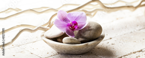 symbols of purity with stones and pebbles in cup - 81273911