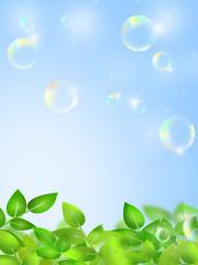 新緑とシャボン玉
