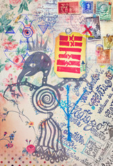 Ethnic,primitive and esoteric scrapbook and collage