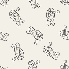 rafting doodle seamless pattern background