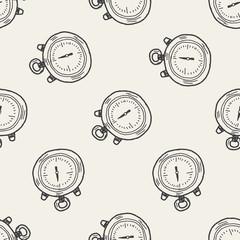 doodle stopwatch seamless pattern background