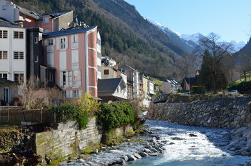 Winter view of the Cauterets spa town