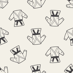 karate doodle seamless pattern background