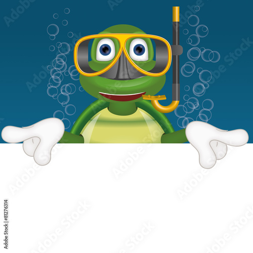 Foto op Canvas Schildpad Funny turtle with diving mask under water comic cartoon