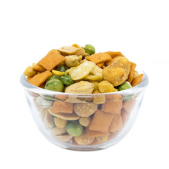 Various snack in a glass bowl