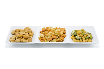 Various snack on white background
