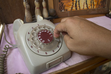telephone antique analog phone working concept