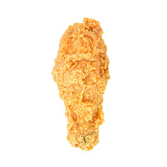 Fried chicken leg or drumstick isolated on white background