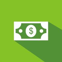 Icono billete dólar verde sombra