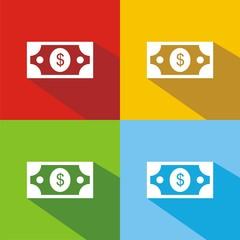 Iconos billete dólar colores sombra