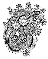 Hand draw black and white line art ornate flower design.