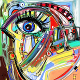 original abstract digital painting artwork of doodle bird - 81277346