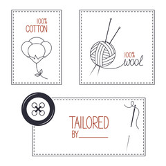 Set of emblems for tailor, cotton and wool products