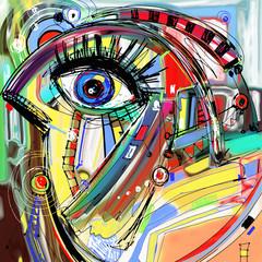 original abstract digital painting artwork of doodle bird
