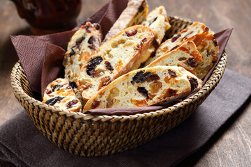 Italian biscotti in a basket