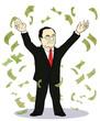 businessman throwing bank notes