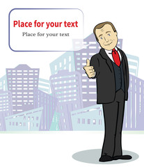 Smiling  businessman. Cartoon character. Template with place for