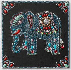 authentic original handmade craftwork painting elephant