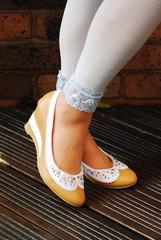 アクアマリンカラーの靴下.