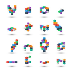 Set of abstract 3d color cubes on white background.