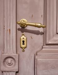 vintage door detail with bronze handle