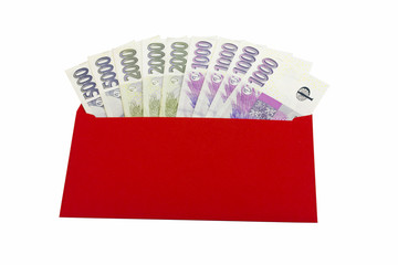 Czech currency, red envelope