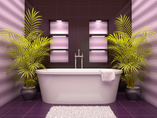 3d illustration of interior bathroom with niches in the wall