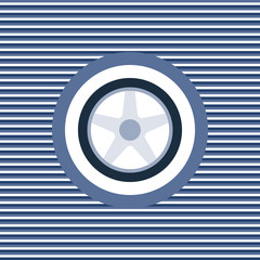 Car wheel color flat icon