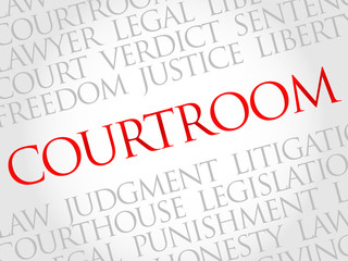 Courtroom word cloud concept