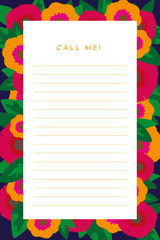 Notepad for missed calls with flowers in vivid colors.