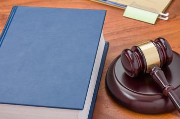 Unbeschriftetes Gesetzbuch mit Richterhammer