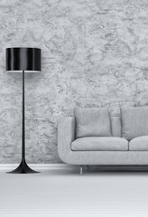 Standing Lampshade and Sofa in Modern Living Room