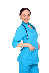 Portrait of happy young doctor woman standing