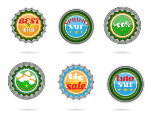 Set, collection of modern, metal, green, blue Easter labels with