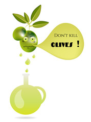 Funny, isolated, green olives with leaves, face, carafe, oil and