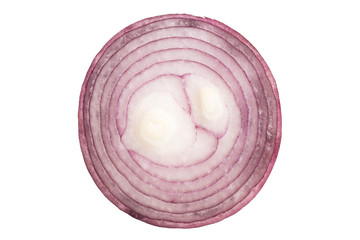Cross section of red onion isolated on white background