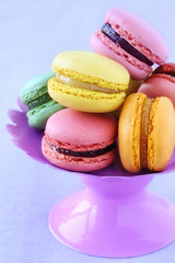 Assortment of colourful French macarons