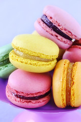 Assortment of colourful French macarons closeup