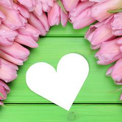 Tulpen Blumen mit Herz zum Valentinstag oder Muttertag mit Textf