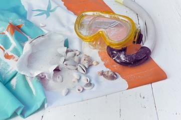 masque de plongée et coquillages